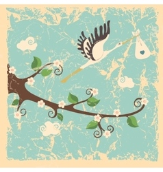Vintage cartoon flowering branch stork newborn vector image vector image