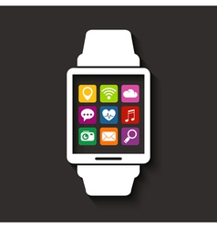 Wearables technology device with apps icons vector