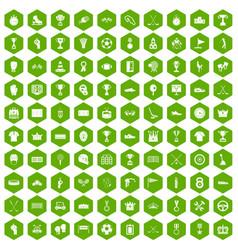 100 awards icons hexagon green vector