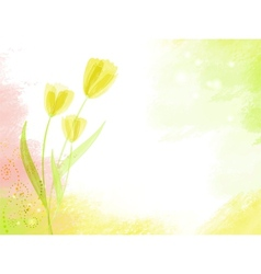 Abstract watercolour background with tulips vector