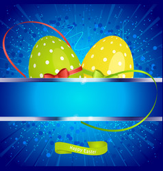 Easter festive background with copy space and eggs vector