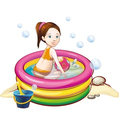 Girl in the pool vector