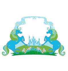 Fairytale frame with magic castle and unicorns vector