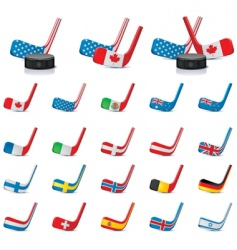 Hockey sticks with flags vector