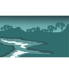 Silhouette of river with green backgrounds vector