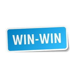 Win-win blue square sticker isolated on white vector