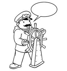 Funny captain or yachtsman coloring book vector