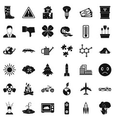 Carbon dioxide icons set simple style vector