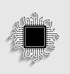 Cpu microprocessor sticker style icon vector
