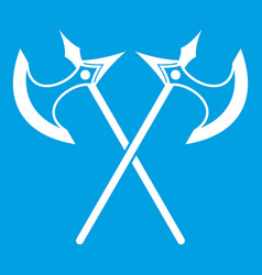 Crossed battle axes icon white vector