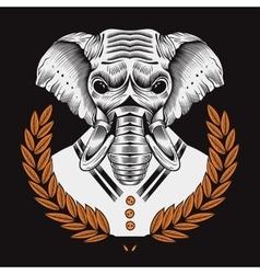 Elephant framed by laurel vector