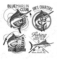 Fishing logo blue marlin or swordfish icon vector