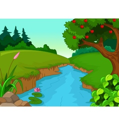 Forest with river vector