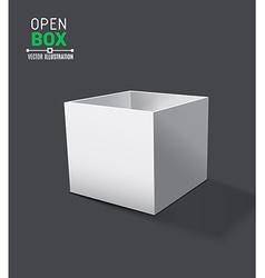 Grey open box with realistic shadows on dark vector image vector image