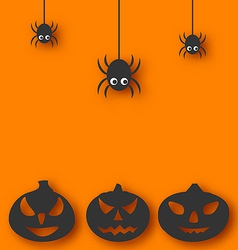 Halloween background with hanging spiders and vector image vector image