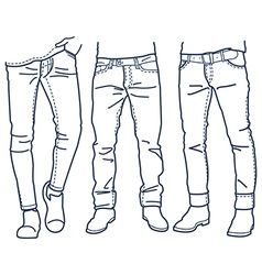 Hand drawn fashion collection of mens jeans vector