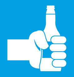Hand holding bottle of beer icon white vector
