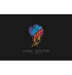 Jellyfish logo design Sea logo Ocean logo design vector image