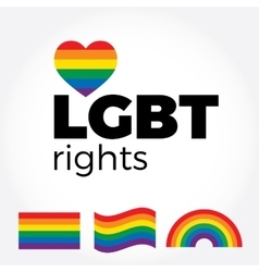 LGBT support symbols with lettering in rainbow vector image vector image