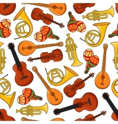 Music equipment instruments seamless pattern vector image