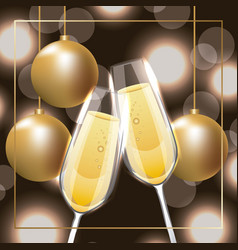 pair of champagne glass cheers golden balls vector image