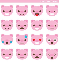 Piggy emoticons vector image vector image