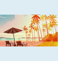Sea shore beach with deck chairs on sunset vector
