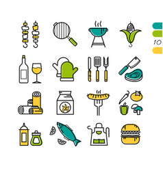 Set linear bbq grill colored icons vector