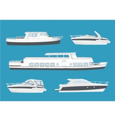 Set of boats and ships vector image vector image