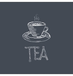Tea sketch style chalk on blackboard menu item vector