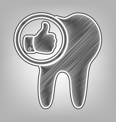 Tooth sign with thumbs up symbol pencil vector