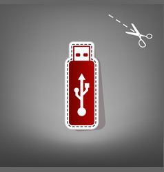 Usb flash drive sign red icon with vector