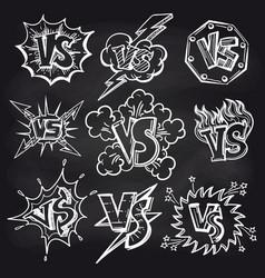 versus signs set on chalkboard vector image