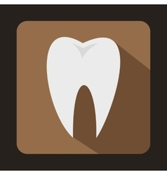 White tooth icon in flat style vector image