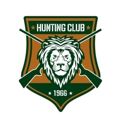 Hunting club sign with lion on heraldic shield vector