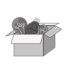 Gray silhouette craft box with bulbs vector