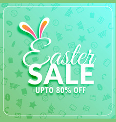 Easter sale banner template with bunny ears vector