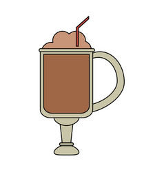 Color image cartoon glass cup of cappuccino with vector
