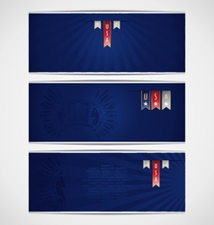 Three blue banner template with ribbons vector