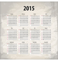 2015 calendar on textured background vector image