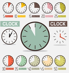 Retro clock - time countdown set vector