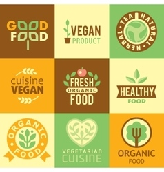 Fresh organic labels and elementsicons vector