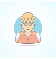 Teacher nerd bookworm icon avatar and person vector