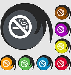 No smoking icon sign symbol on eight colored vector