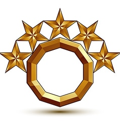 Wonderful template with 5 golden stars rounded vector
