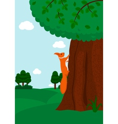Squirrel climbing to the tree vector