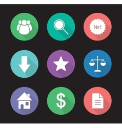 Business flat design icons set vector
