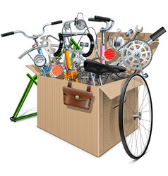 Carton box with bicycle spares vector