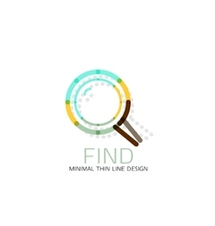 Thin line design logo magnifying glass vector