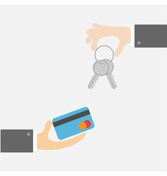 Hands with key and money card exchanging concept vector